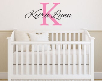 Large Vinyl Name Wall Decal Custom Monogram Vinyl Lettering and Name Girls Wall Decal Sticker