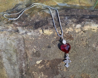 Red glass heart with cross necklace