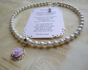 Pearl Flower Girl Necklace, Flower Girl Necklace, Pearl Flower Girl Jewelry, Pearl Childrens Necklace, Pearl Kids Necklace, Childs Necklace