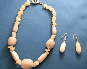 Necklace and Earring set made of Elk Antler and Calcite chips