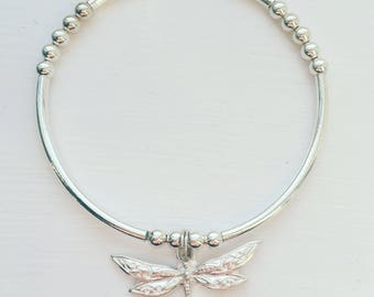 Sterling silver dragonfly charm noodle bracelet