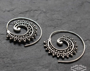 Silver tone Spiral, silver earrings, tribal jewelry, ethnic earrings, gypsy earrings, indian earrings, boho jewelry