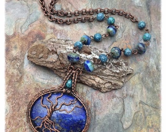 Forget-Me-Not Lapis Tree of Life, Copper Wire Wrapped, Gemstone, Czech Glass, Statement Necklace, Handwoven Copper