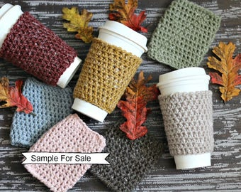Crochet Cup Cozy, Set of Coffee Cup cozy, Crochet Coffee Sleeve, Ready to Ship, Coffee, Tea cup, Reusable Cup Sleeve, Tea Cozy