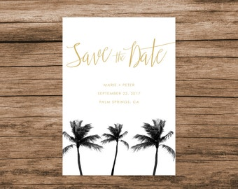 Palm Tree Save the Date, Palm Springs Save the Date, Arizona Save the Date, Black and Gold Palm Save the Date