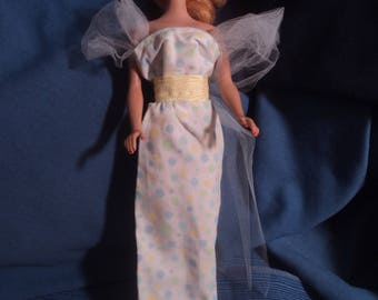 Vintage Barbie Doll Long Dress Yellow Green Blue Polka Dots and Hat