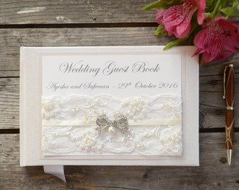 Personalised Wedding Guest Book. Luxury Ivory Lace & Vintage Pearl Bow Guest Book. Handmade Vintage Style Wedding Guest Book.