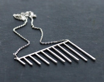 Sterling Silver Geometric Statement Necklace - Chain - Pendant - OOAK