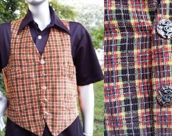Womens Vest, 70s Vest, Vintage Vest, Tweed Vest, Corduroy Vest, Boho Vest, 70s Costume, Bohemian, Vintage Costume, Plaid Vest, Vest Size 12