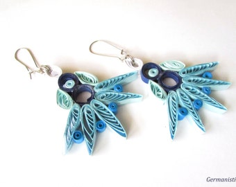 Quilled Paper Blue Earrings, Quilling Earrings, Blue Earrings, Quilled Paper Earrings, Quilling Jewelry