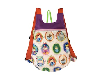 Fabric backpack, Princess backpack, girl backpack, children backpack, School backpack, children backpack, Kids backpack