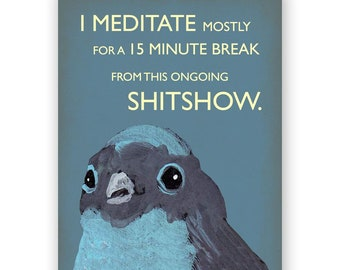 Meditate Card - Bird - Greeting - Mincing Mockingbird