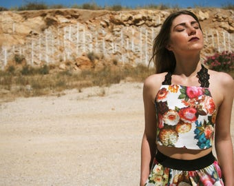 Colorful Floral Crop Top and Skirt Set// Multicolor Backless Floral Halter Top//Backless Cropped Top with Flowers// Vintage Inspired Floral