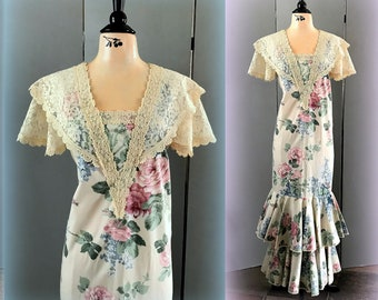 70s PRINCESS KAIULANI Maxi Dress - Pink Floral on Polished Cotton - Lace Trimmed Bodice & Cap Sleeves - Double Ruffles at Hemline -  SMALL