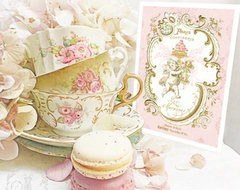 Cupid, Valentines card, French, baroque, bakery card, macarons, romantic love card
