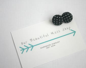 SALE || Black With Dots Fabric Button Earrings