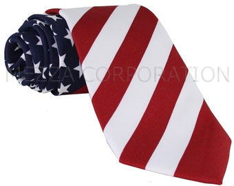 Men's poly print american flag Regular Necktie, for special occasions
