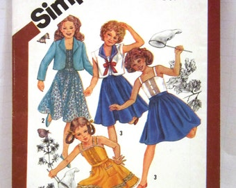 Girls Sailor Dress Bolero Sundress Cinderella Vintage Pattern Simplicity 5468 Size 14 Tucked Camisole Top Wing Collar Long Short Sleeve 1980