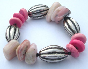 Stretch Bracelet OPAL ~ pinks ~ natural gemstones ~stretch bracelet ~ chunky beads stretch bracelet Gift For Her by Ziporgiabella