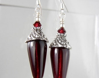 Dark red earrings with silver bead caps, red crystals, sterling ball bottoms / wedding bridal party / bridesmaid jewelry