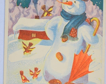 New Year Postcard Snowman in Night Printed in Finland