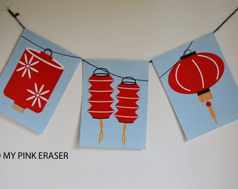 Chinese new year banner // paper lantern party // Chinese new year pennant // lantern banner // paper lanterns