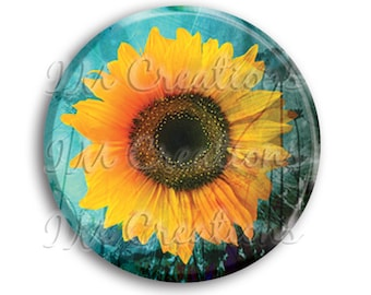 LIQUIDATION SALE! Sunflower Pocket Mirror, Magnet, or Pin - 2.25""