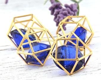 Gold Hexagon Cube Pendant with Large Diamond Shaped Acrylic, Geometric Pendant,20mm,  1 piece // GP-462