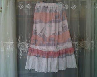 size 42/44 - /jupe rose/skirt cotton summer skirt long skirt/lace /jupe elastic/pink long skirt size 42/44