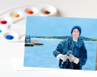 "Note Card 5 x 7"" of Original Painting ""The Oyster Farmer"" Award-Winning Artist Ingrid Lockowandt Blank Greeting Card, Point Reyes California"
