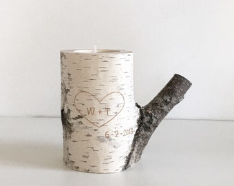white birch wood candle holder - carved heart & initials, personalized candle, anniversary gift, 5 years anniversary gift, rustic candle