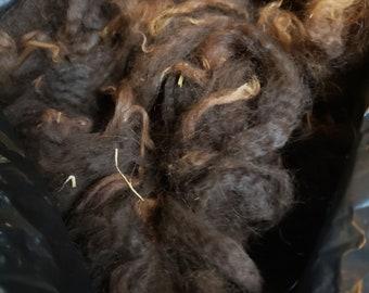 """Tumbled Alpaca Fiber - Sun-Tipped Bay Black   1 lb. 11 oz.    4"""""""