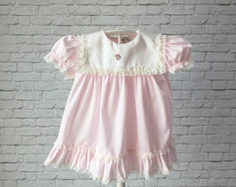 pink bryan vintage baby swing top, empire waist dress, solid blue dress, baby pink dress, classic vintage baby dress, pink bryan swing top