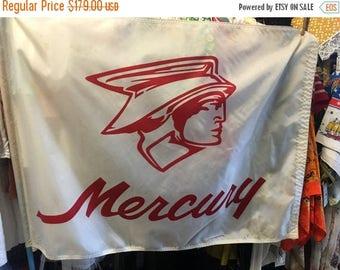 35% off Sale Vintage retro Mercury racing flag white with original blue stick