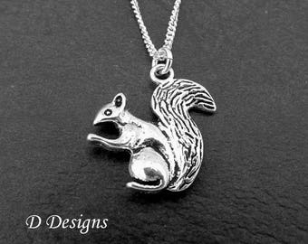 Squirrel Necklace, Silver Squirrel Pendant, Squirrel Charm Necklace, Squirrel jewellery, Squirrel Gifts, Trendy Necklace