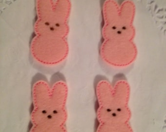 Cute Pastel Pink felt Easter Bunny-SET of 4