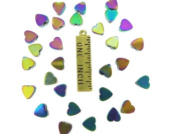 Oil Slick Electroplated Hematite Heart Beads - (30x) (NS572)
