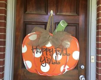 Pumpkin Door Hanger, Happy Fall Y'all, Fall Door Decor, Fall Wreath, Pumpkin Wreath