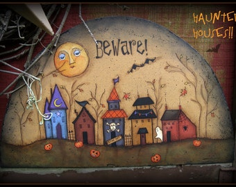 Haunted Houses - Painted by Sharon Bond, Painting With Friends E Pattern