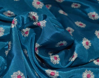 """Blue , White & Pink Floral Blouse weight Fabric 42"""" W"""
