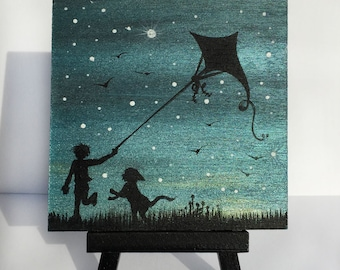 Little boy with a dog and a kite - night - silhouette - miniature miniature limited edition print mounted on wood