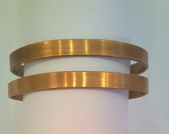 Pair of Vintage Genuine Copper Cuffs - Plain Band - Cabala Insciption on Outside - 2 Two 1/4 Inch Wide Copper Cuff Bracelets