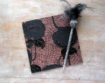 Softcover Guest Book, Black Flowers and Coffee with 10 black pages, Ready to Ship