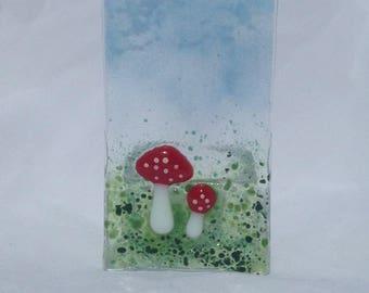 Glass Toadstool tea light holder