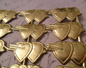 Gold Embossed Foil German Dresden Scrap Double Hearts with Arrows approx 1.5 across