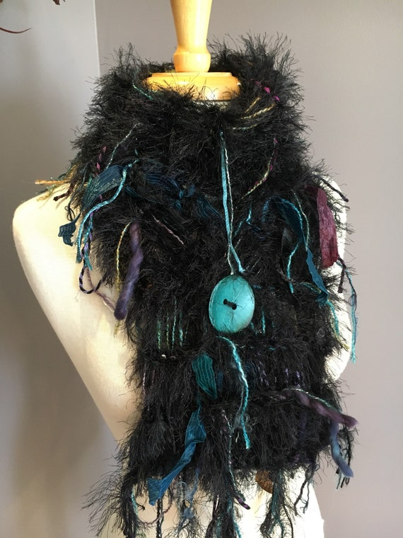 Hand Knit black fur scarf with button, black purple teal, Art Scarf, Scarf with button, funky scarf, ribbon scarf, bohemian, nomad, boho