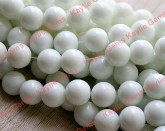 2 Strands 10mm Round Opaque White Glass Beads 16 inches