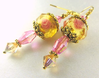 Gold and Pink Multi Rose Lampwork Glass and Swarovski crystals on Antique Gold  Earrings