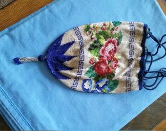 Antique Micro Glass Beaded Flower Reticule Drawstring Handbag