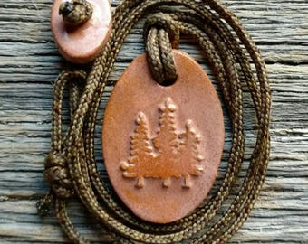 Trees Necklace - Pine Trees - Evergreens -Redwoods in Rose